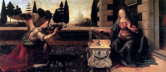 Peinture d'un ange agenouillé devant une femme lisant et portant une auréole.
