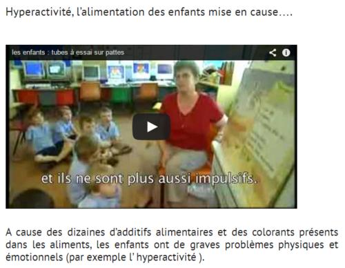 Hyperactivité , l'alimentation des enfants mise en cause