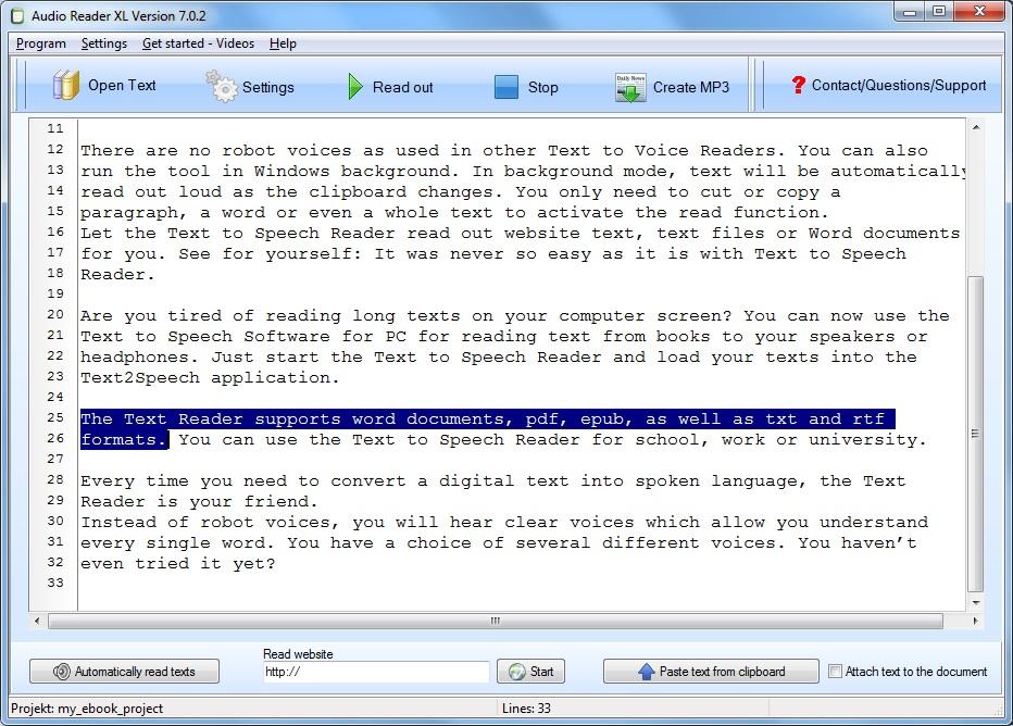 I found a good text to speech reader - Easy text to speech