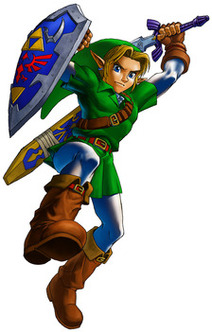 Link performs a jumping attack - <i>Ocarina of Time 3D</i>