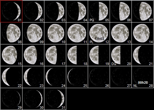 calendrier des phases de la lune splendeurs du ciel profond. Black Bedroom Furniture Sets. Home Design Ideas