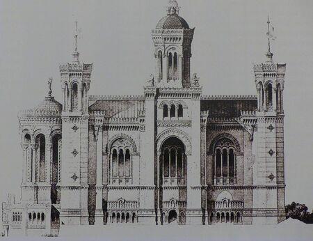 Gravure en noir et blanc de la façade nord, couplée à un haut clocher servant de piédestal à la statue.