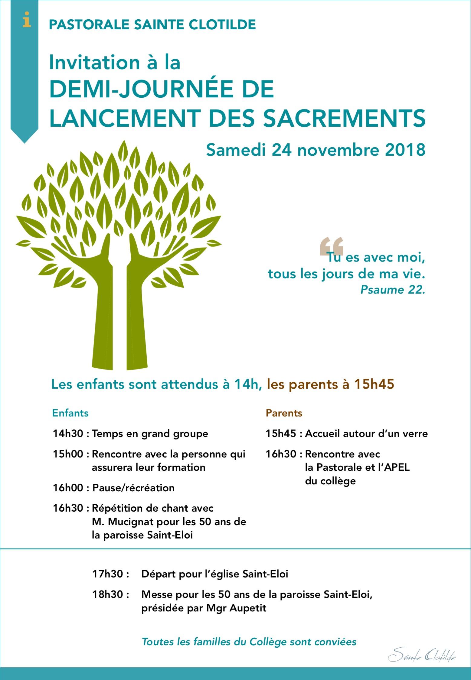 Lancement Sacrements 2018