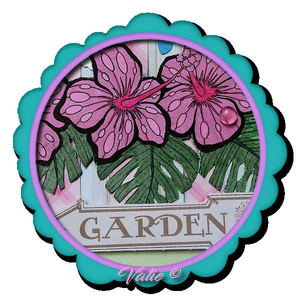 """Carte """"hibiscus et Papillons"""""""