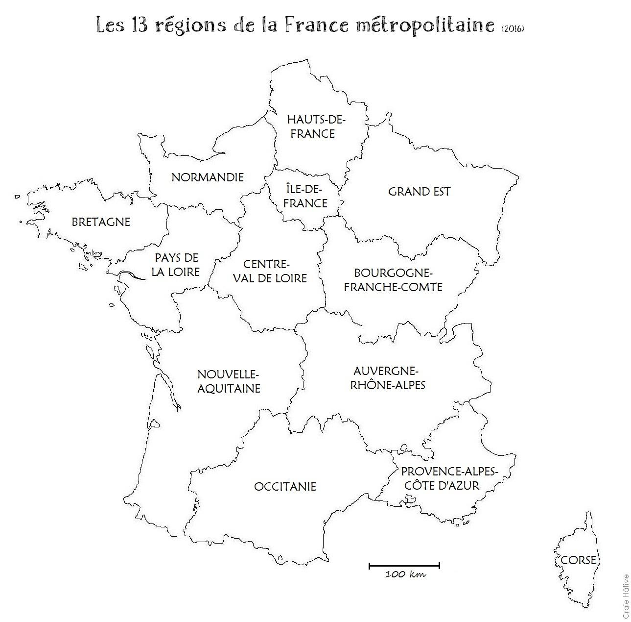 carte région france vierge Cartes des régions de la France métropolitaine   2016   Craie hâtive