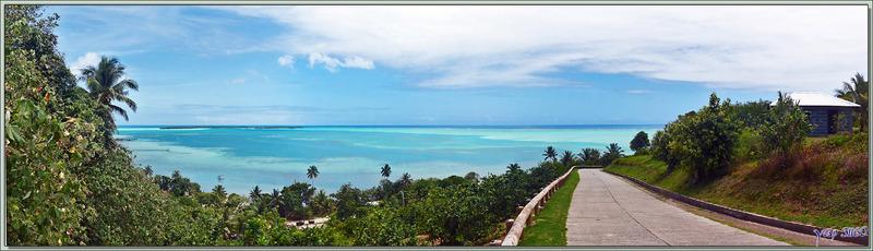 Panorama sur le lagon et les motu côté sud vus à partir de la descente de la route traversière - Maupiti - Polynésie française