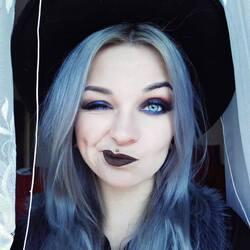 beautiful grey hair girl makeup gengar