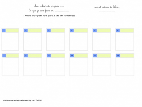 Cartes d'apprentissage en petite section