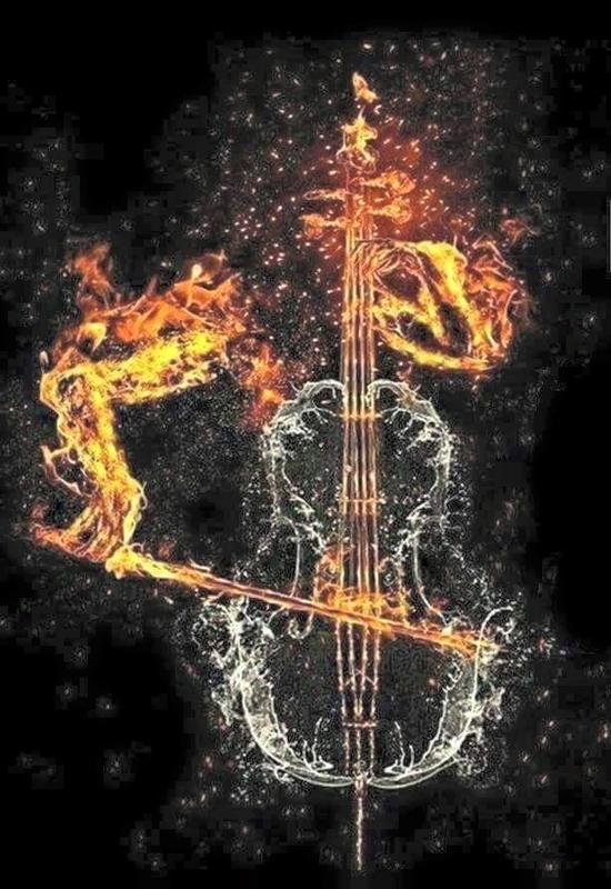 contrebasse joueur en feu