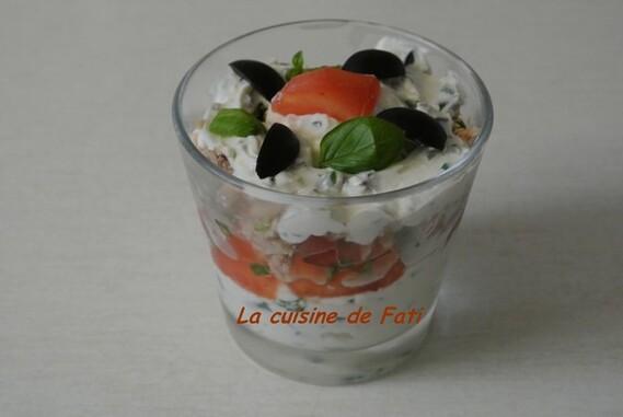 Verrines au thon et fromage aux herbes