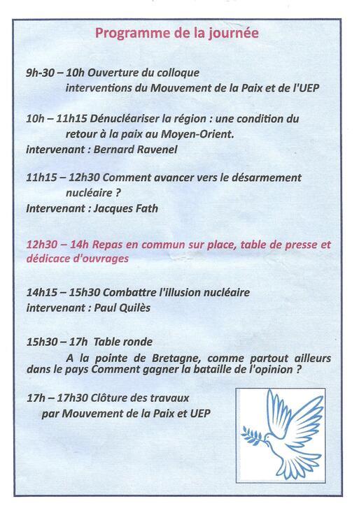 Brest-Samedi 29 septembre 2018-Colloque pour le désarmement nucléaire & pour la paix organisé par le CIAN29