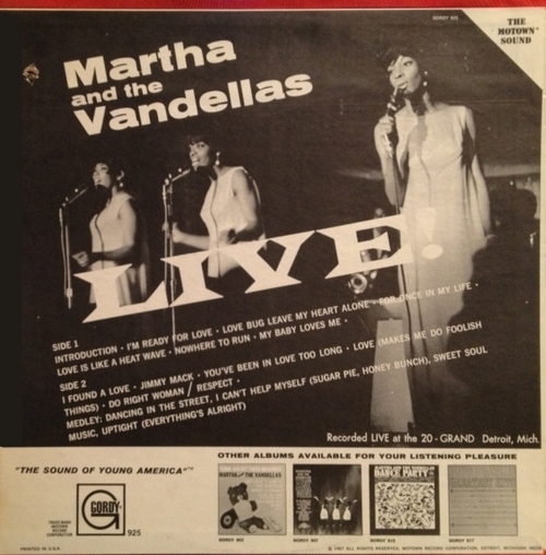 "Martha & The Vandellas : Album "" Live ! "" Gordy Records GLPS 925 [ US ]"