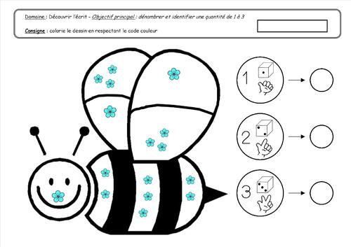 DECOUVRIR LE MONDE : nombres et quantités : jusqu'à 3