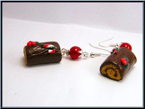 Boucles d'oreille bûche de noël au chocolat/café en fimo.