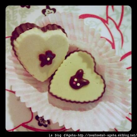 Chocolats coeur matcha