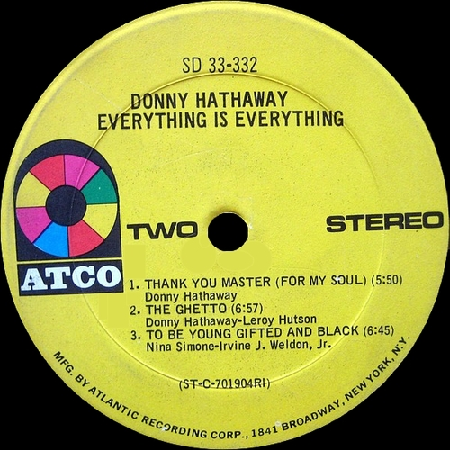 "Donny Hathaway : Album "" Everything Is Everything "" Atco Records SD 33-332 [US]"