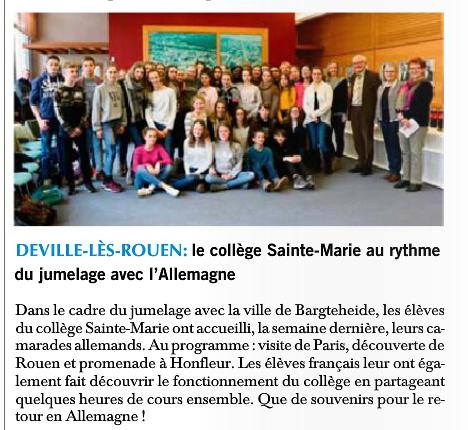 Paris Normandie : accueil de collégiens allemands à Sainte Marie