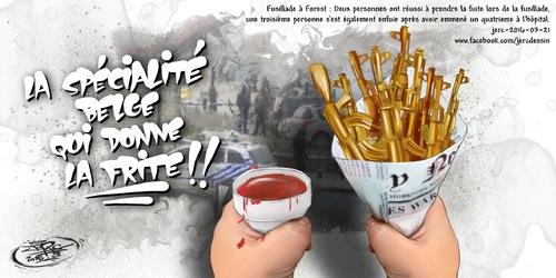JERC 2016-03-21, caricature frites belges. le suspect court toujours à Forest!! www.facebook.com/jercdessin Cliquer sur la photo pour voir en plus grand
