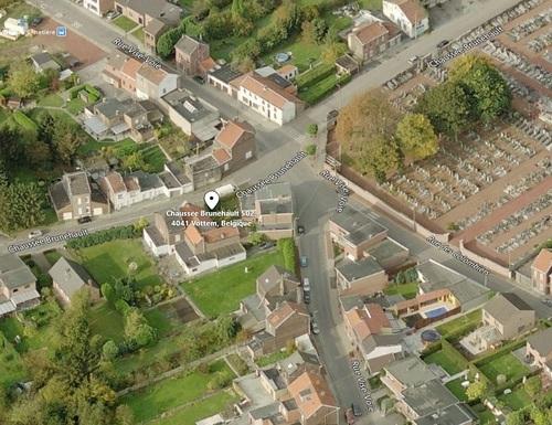 Vottem - vue aérienne du Temple de la Chausée de Brunehault