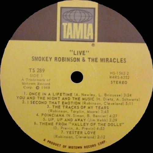 "Smokey Robinson & The Miracles : Album "" Live ! "" Tamla Records TS 289 [ US ]"