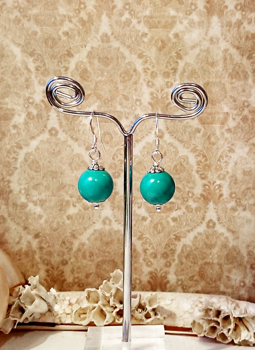 Boucles Pierre de turquoise boules 12mm  / Argent 925  - Turquoise stone ball 12mm / sterling silver