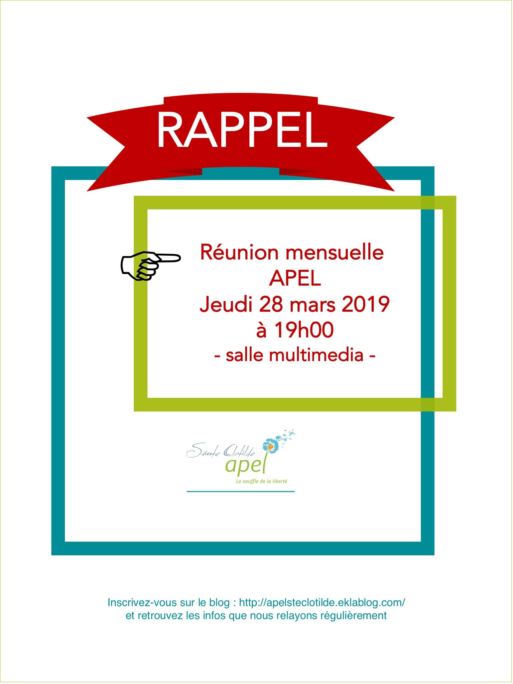 Réunion Mensuelle APEL | 2019