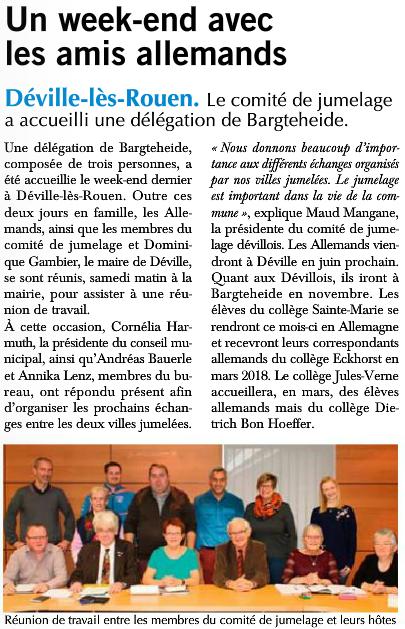 Réunion de travail franco-allemande relatée dans Paris Normandie