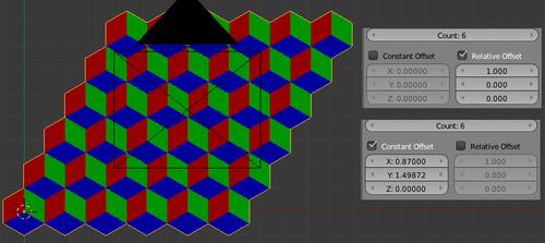 Dupliquer avec alignement sur les côtés verticaux des cubes