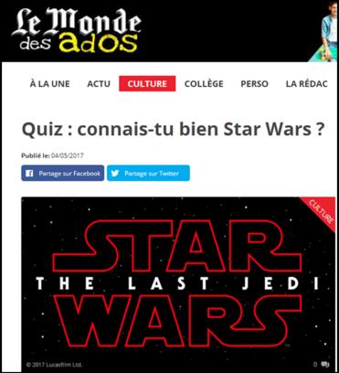 Pour s'amuser un peu : un quiz sur l'univers Star Wars !