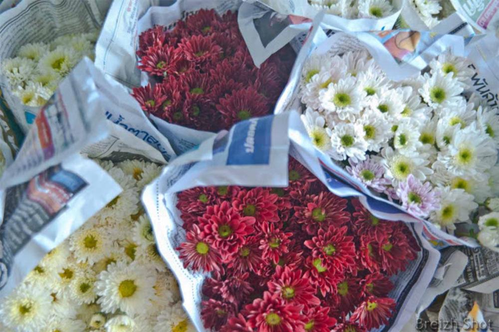 bouquet fleurs  marché de Sukhothai