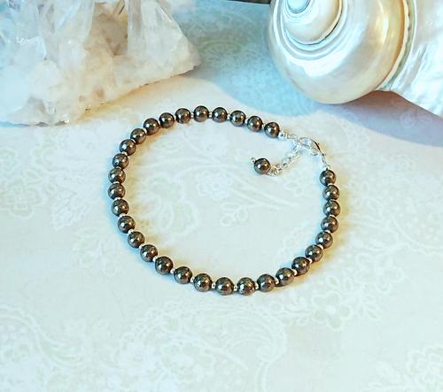 Bracelet pierre de pyrite mordoré 4mm, plaqué argent / Pyrite stone 4mm silver plated bracelet