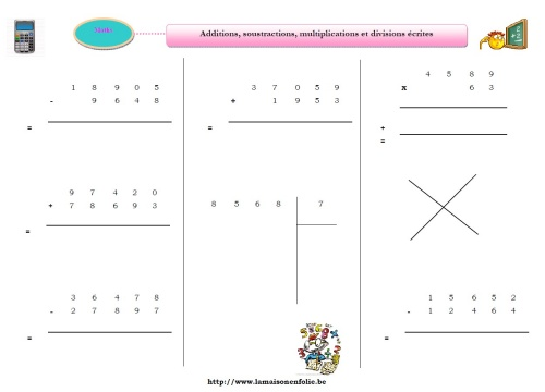 Additions, soustractions, multiplications et divisions