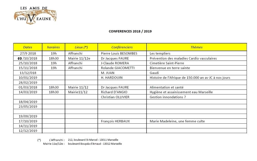 Programme des conférences 2018-2019