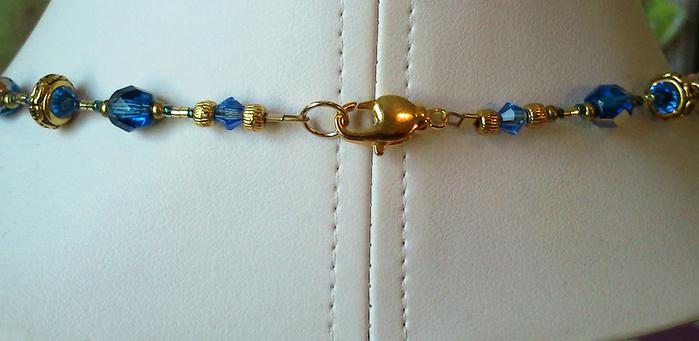 Long Collier Pendentif Bleu Outremer / Noir, Verre de Murano authentique Dichroïc et Cristal Swarovski / Plaqué or