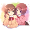Konachan.com - 101050 2girls brown_hair chobipero original purple_eyes seifuku