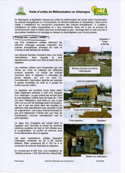 suite visite méthanerie Allemande