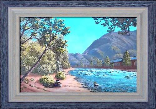 Dessin et peinture - vidéo 2576 : La promenade au bord de la rivière 5/8 et 6/8 - paysage à l'acrylique ou à l'huile.