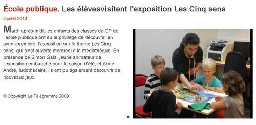 Le Télégramme - 05/07/2012 - Les élèves visitent l'exposition Les Cinq sens