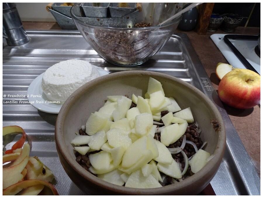 Lentilles Fromage frais Pommes Oignons