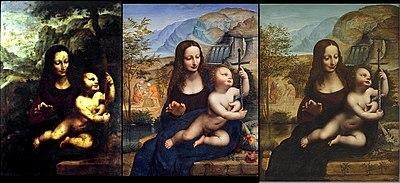 Copies de l'atelier de Vinci et de ses élèves de la Madone au fuseau