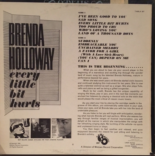 "Brenda Holloway : Album "" Every Little Bit Hurts "" Tamla Records S 257 [ US ]"