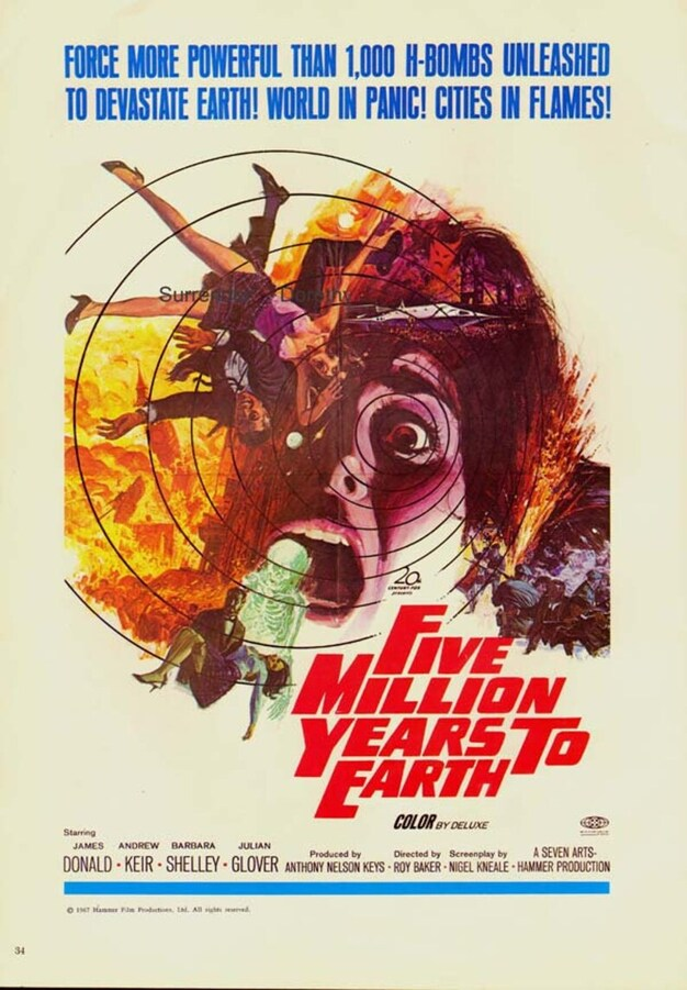 FIVE MILLIONS YEARS TO EARTH USA BOX OFFICE 1968