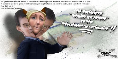 JERC 2016-01-18, Emmanuel Valls :La déchéance nationale pour faire baisser le chômage, joli programme national socialiste !! ! www.facebook.com/jercdessin Cliquer sur la photo pour voir en plus grand.