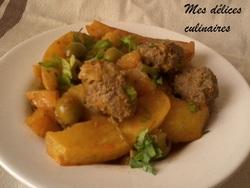 Tajine kefta pommes de terre/olives
