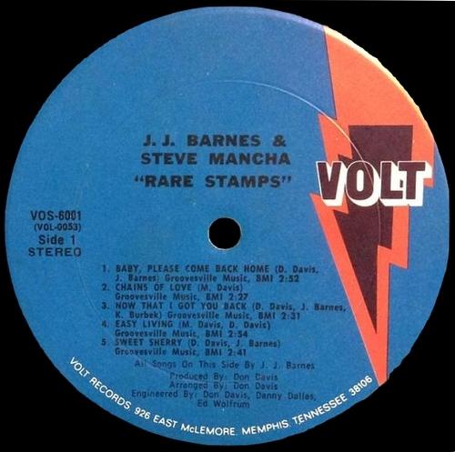 """J.J. Barnes & Steve Mancha : Album """" Rare Stamps """" Volt Records VOS-6001 [ US ]"""