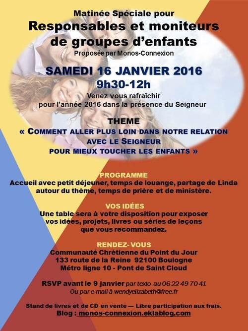 Rencontre Responsables et Moniteurs - 16 Janvier 2016