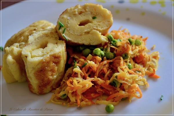 Omelette bouillon de légumes & légumes sautés au gingembre