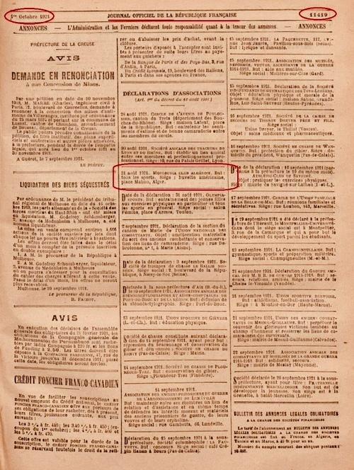 1er Octobre 1921 parution dans le Journal Officiel