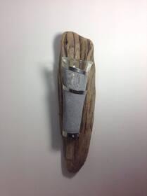 Applique bougeoir en bois flotté