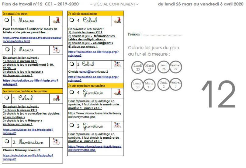 Plan de travail n°12 CE1 - spécial confinement - mars avril 2020